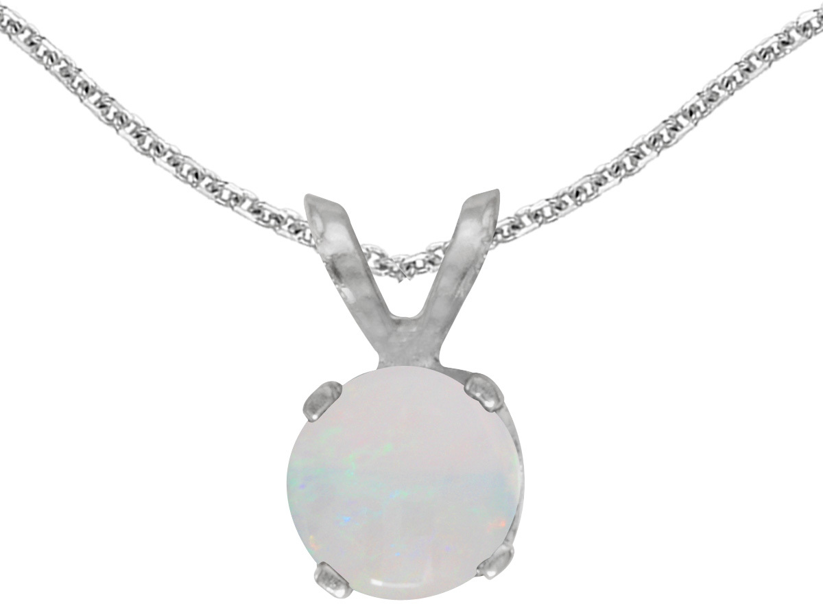 14k White Gold Round Opal Pendant (Chain NOT included)