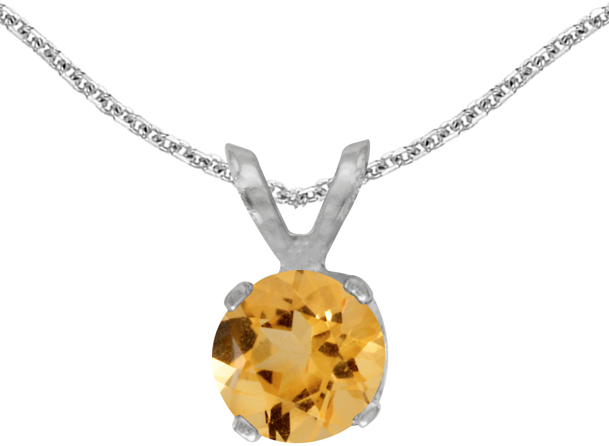 14k White Gold Round Citrine Pendant (Chain NOT included)