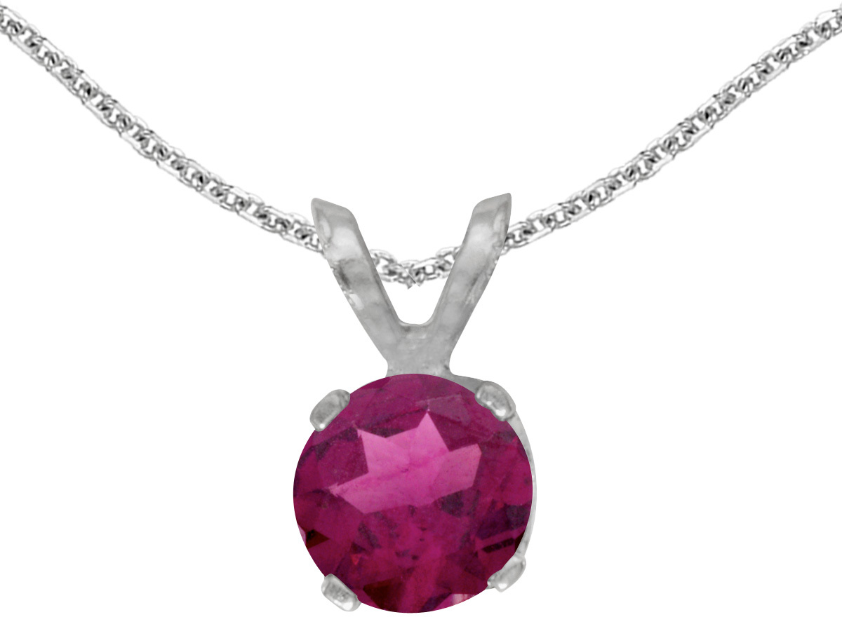 14k White Gold Round Rhodolite Garnet Pendant (Chain NOT included)