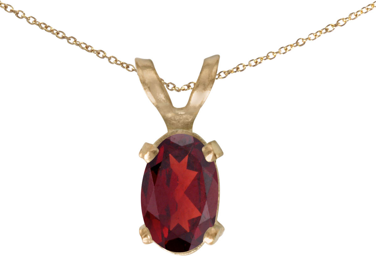 14k Yellow Gold Oval Garnet Pendant (Chain NOT included)