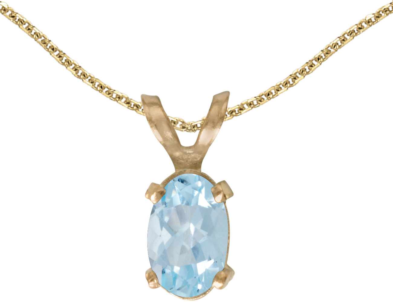 14k Yellow Gold Oval Aquamarine Pendant (Chain NOT included)