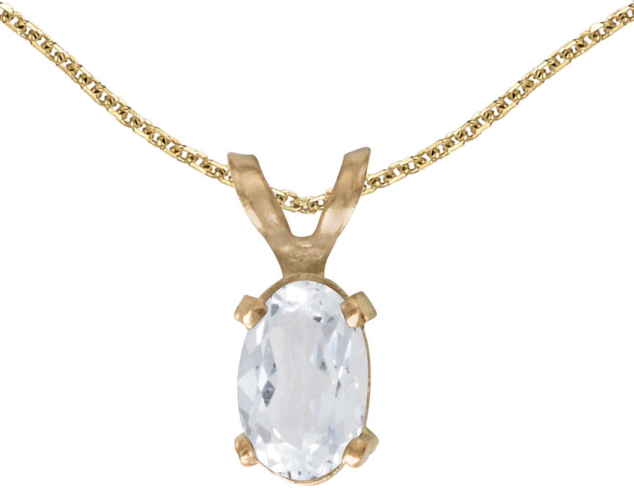 14k Yellow Gold Oval White Topaz Pendant (Chain NOT included)