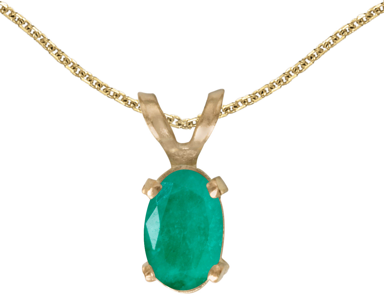 14k Yellow Gold Oval Emerald Pendant (Chain NOT included)
