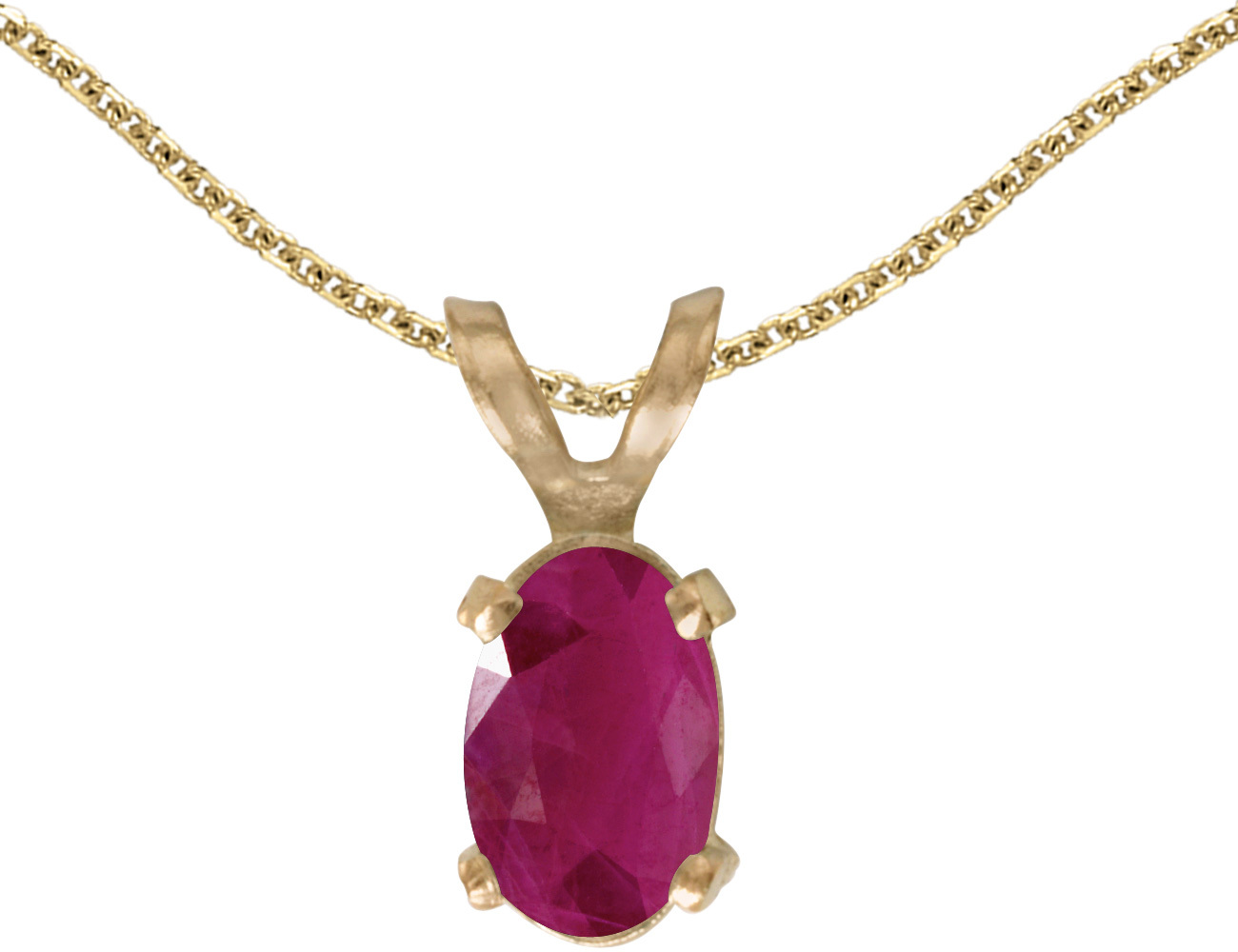 14k Yellow Gold Oval Ruby Pendant (Chain NOT included)