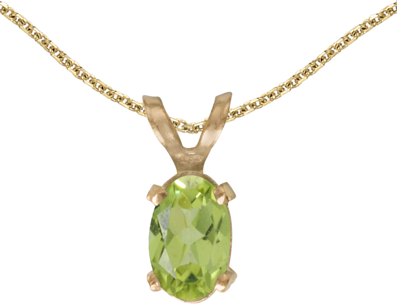 14k Yellow Gold Oval Peridot Pendant (Chain NOT included)