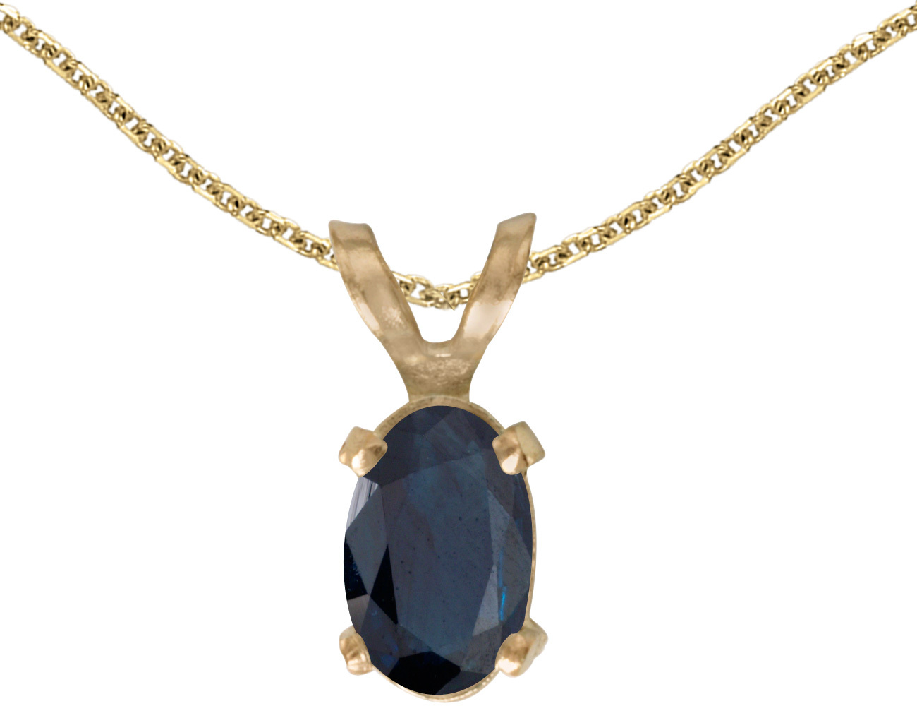 14k Yellow Gold Oval Sapphire Pendant (Chain NOT included)