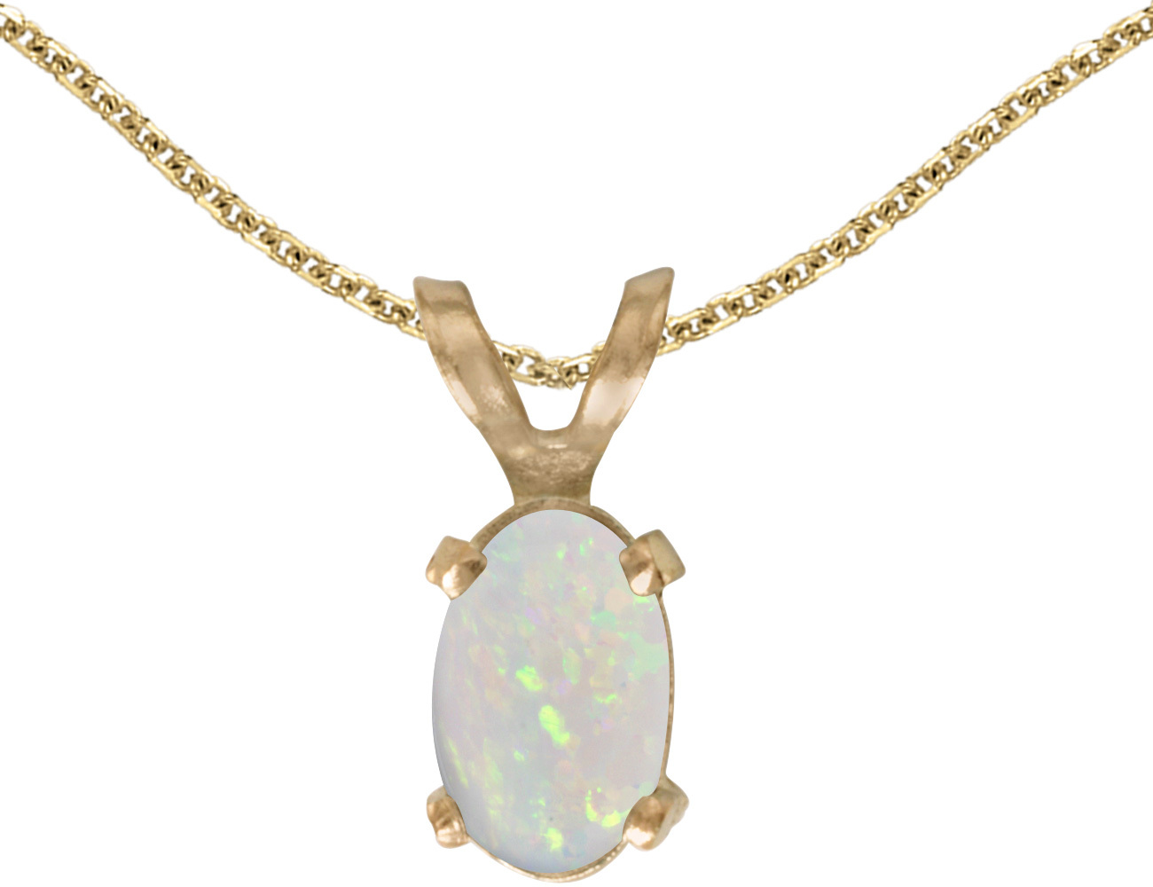 14k Yellow Gold Oval Opal Pendant (Chain NOT included)