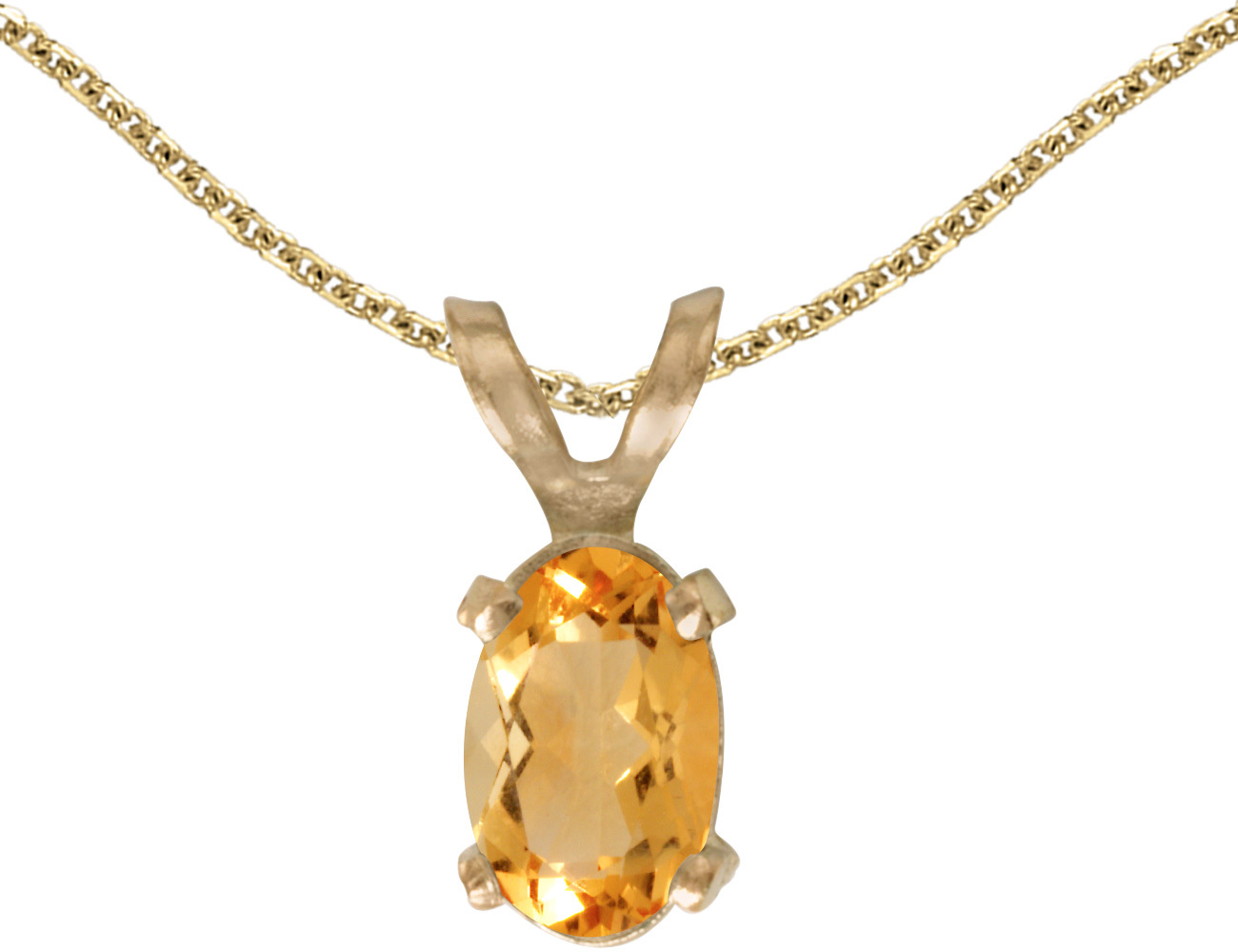 14k Yellow Gold Oval Citrine Pendant (Chain NOT included)