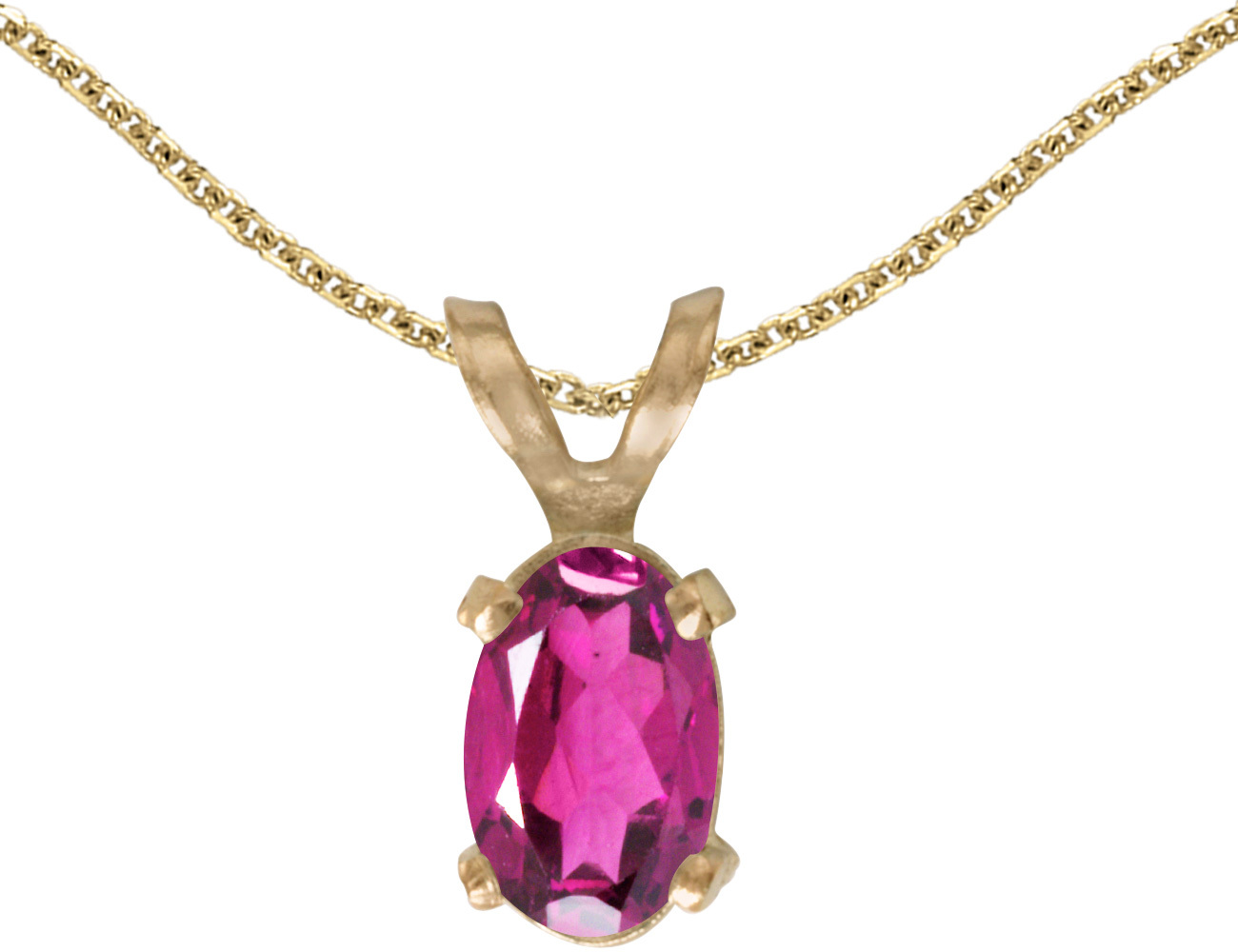 14k Yellow Gold Oval Pink Topaz Pendant (Chain NOT included)