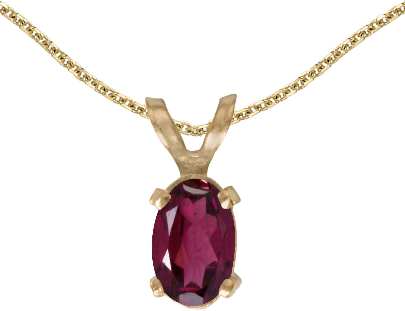 14k Yellow Gold Oval Rhodolite Garnet Pendant (Chain NOT included)