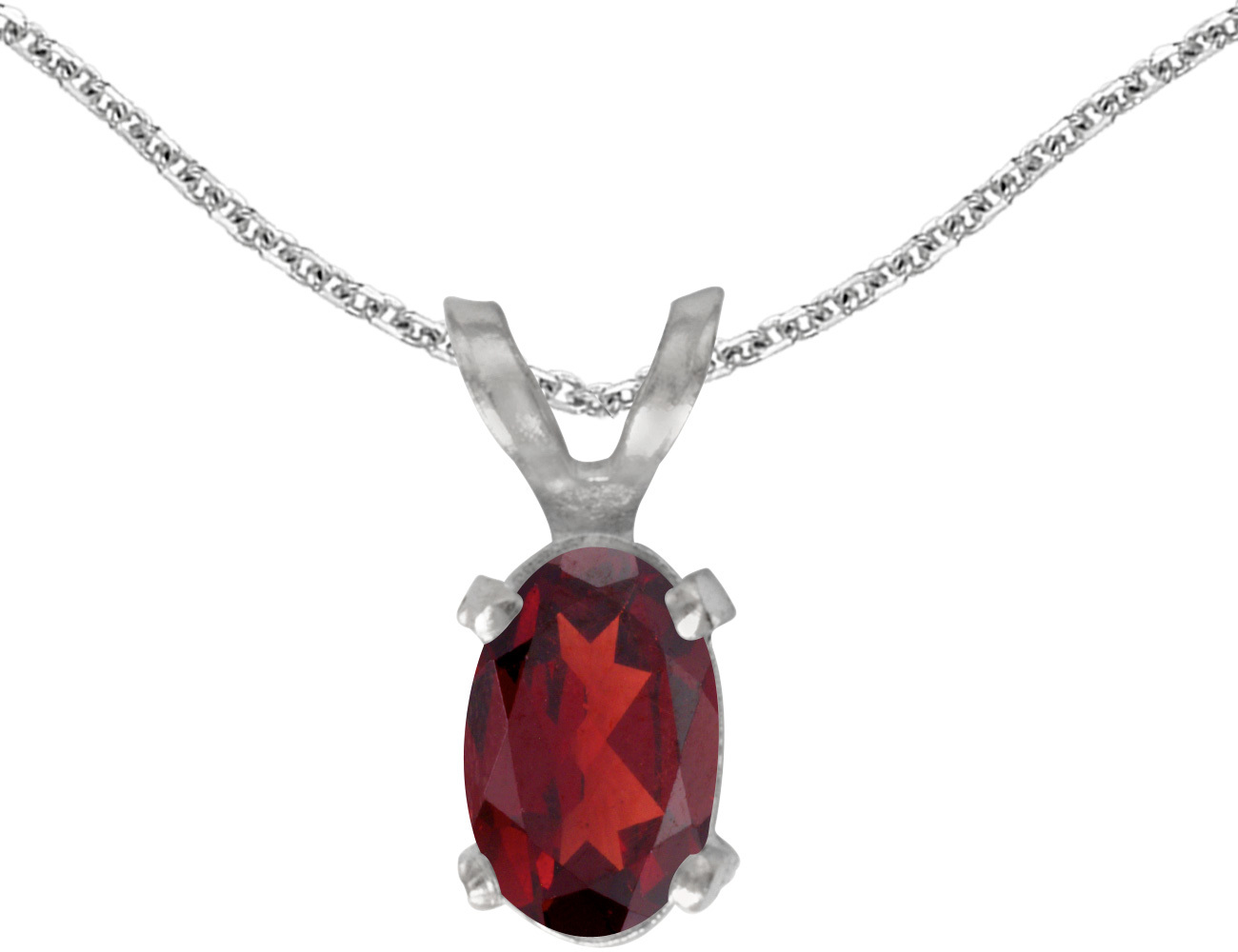 14k White Gold Oval Garnet Pendant (Chain NOT included)