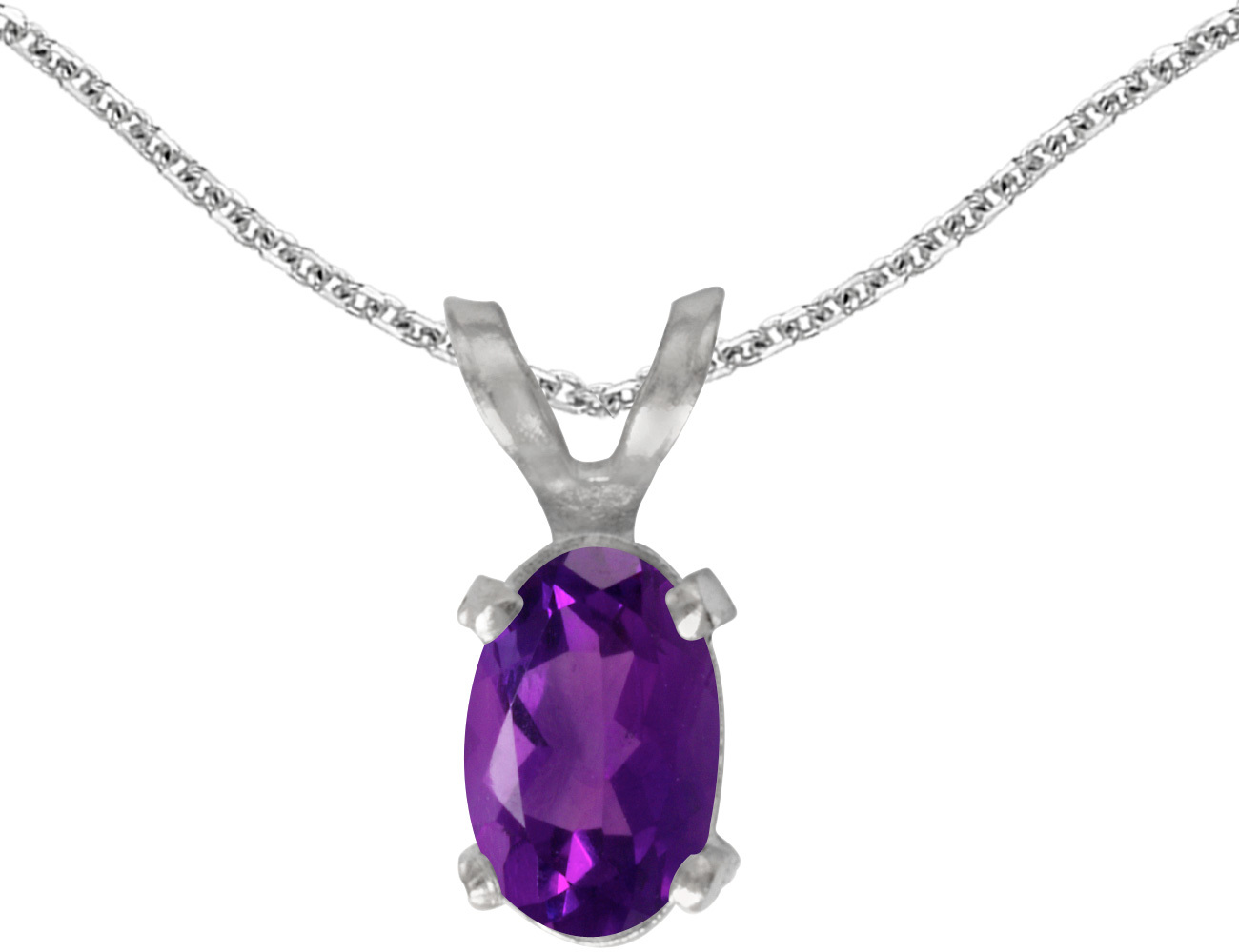 14k White Gold Oval Amethyst Pendant (Chain NOT included)