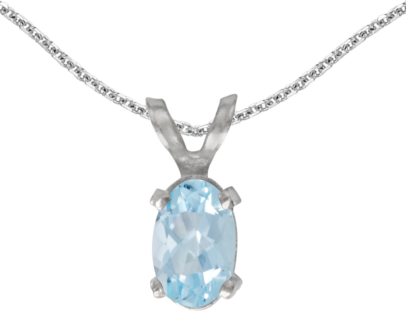 14k White Gold Oval Aquamarine Pendant (Chain NOT included)