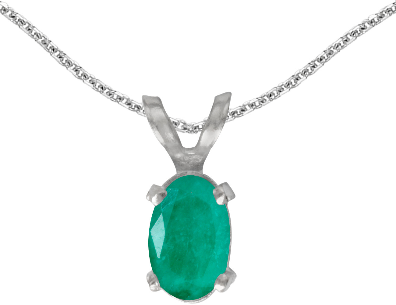 14k White Gold Oval Emerald Pendant (Chain NOT included)