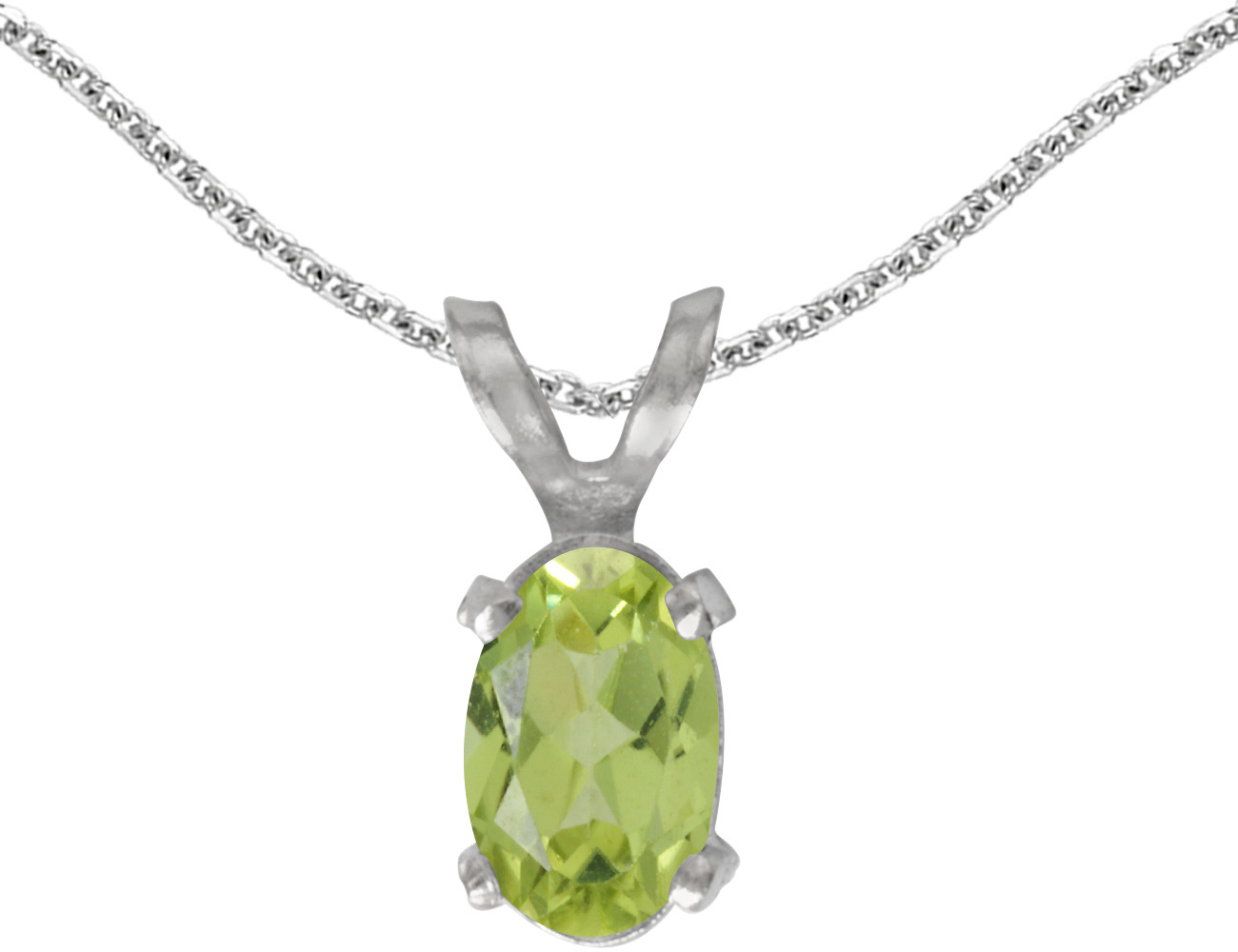14k White Gold Oval Peridot Pendant (Chain NOT included)