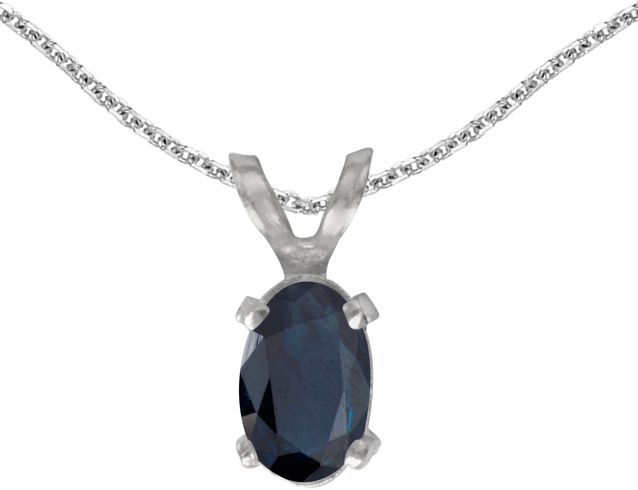 14k White Gold Oval Sapphire Pendant (Chain NOT included)