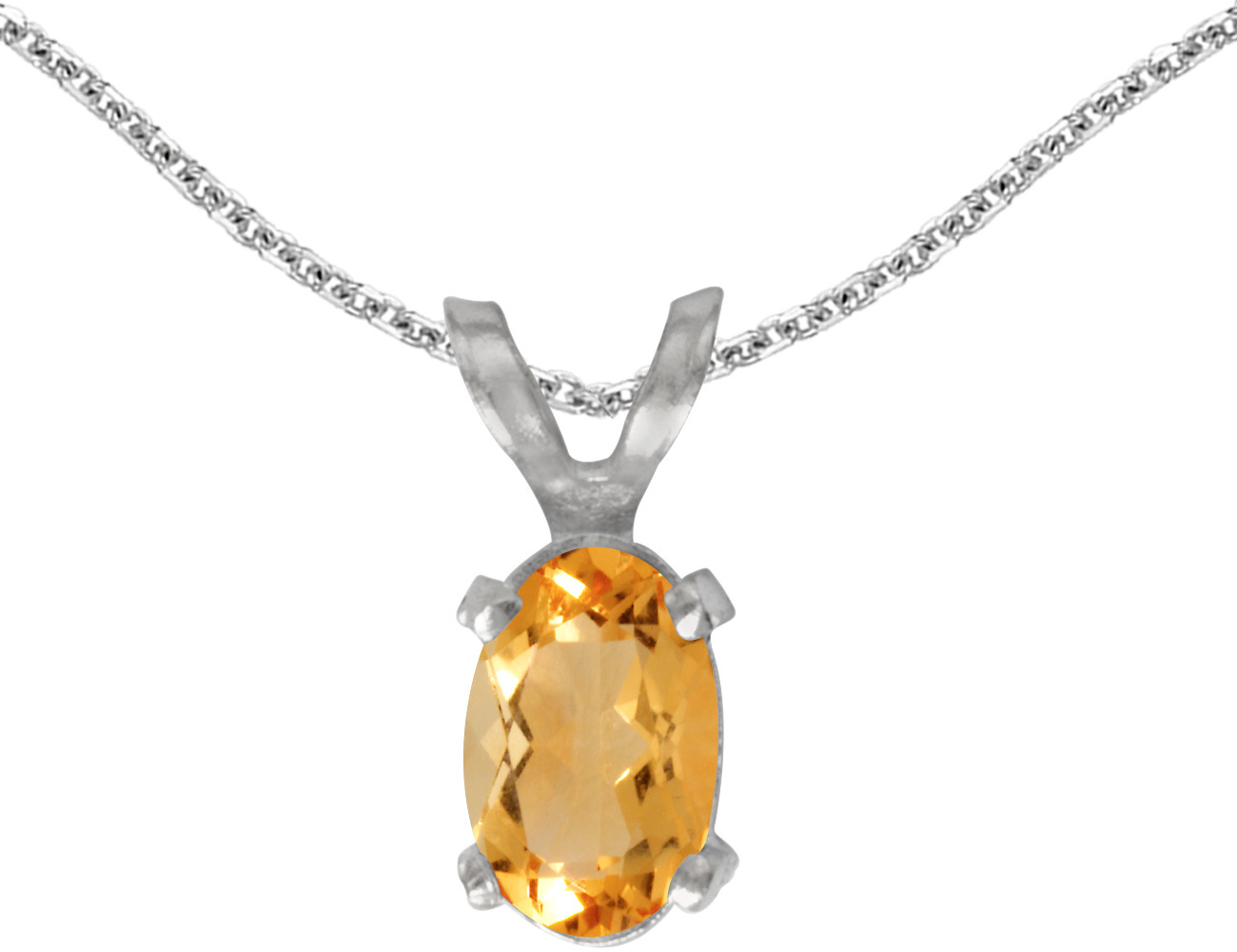 14k White Gold Oval Citrine Pendant (Chain NOT included)