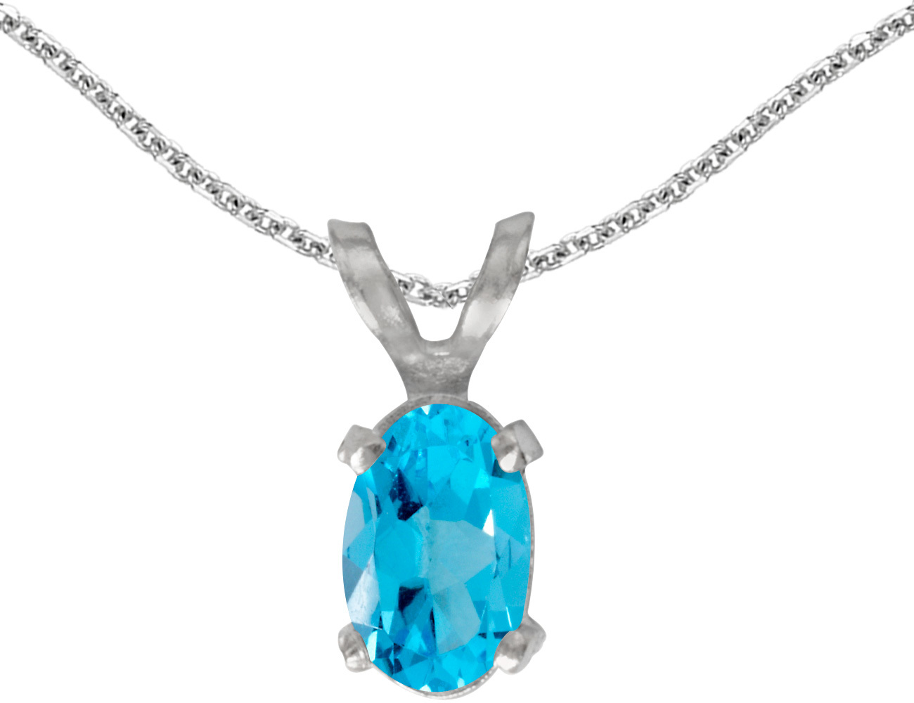 14k White Gold Oval Blue Topaz Pendant (Chain NOT included)