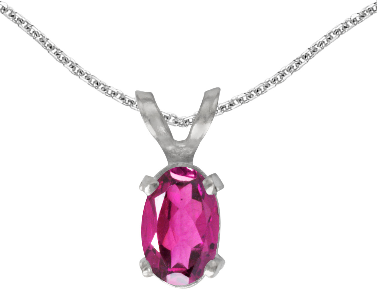 14k White Gold Oval Pink Topaz Pendant (Chain NOT included)