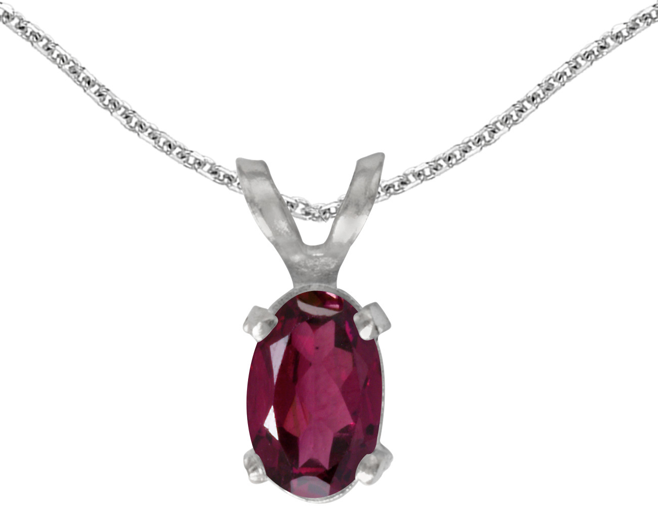 14k White Gold Oval Rhodolite Garnet Pendant (Chain NOT included)