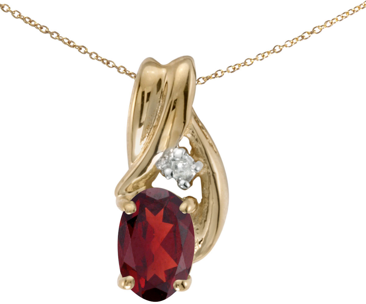 14k Yellow Gold Oval Garnet And Diamond Pendant (Chain NOT included) (CM-P1861X-01)