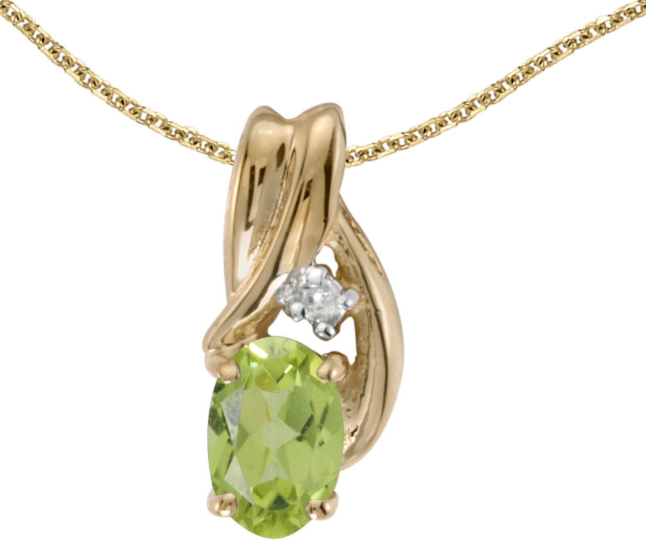 14k Yellow Gold Oval Peridot And Diamond Pendant (Chain NOT included) (CM-P1861X-08)