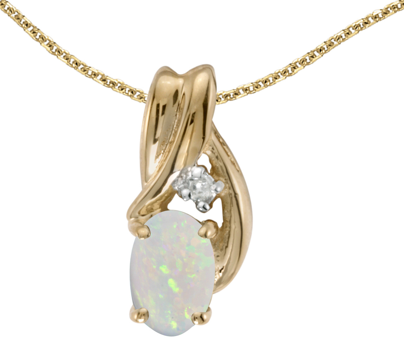 14k Yellow Gold Oval Opal And Diamond Pendant (Chain NOT included) (CM-P1861X-10)