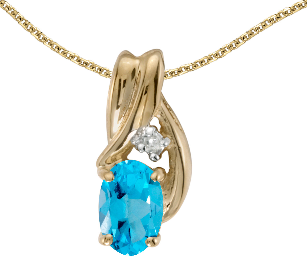 14k Yellow Gold Oval Blue Topaz And Diamond Pendant (Chain NOT included) (CM-P1861X-12)
