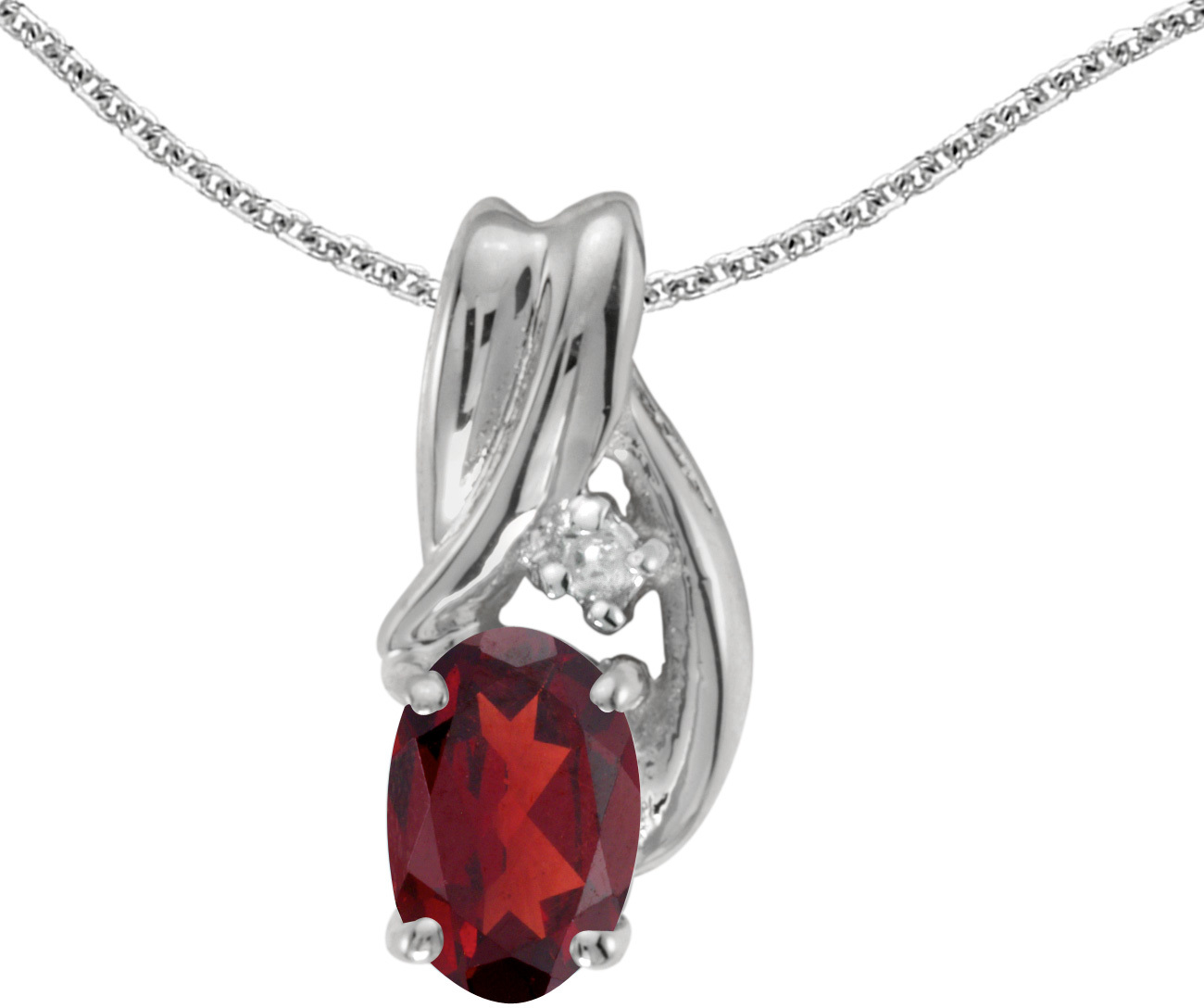 14k White Gold Oval Garnet And Diamond Pendant (Chain NOT included) (CM-P1861XW-01)