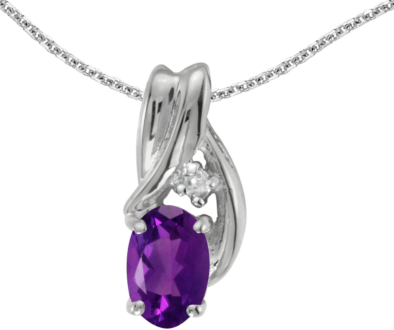 14k White Gold Oval Amethyst And Diamond Pendant (Chain NOT included) (CM-P1861XW-02)