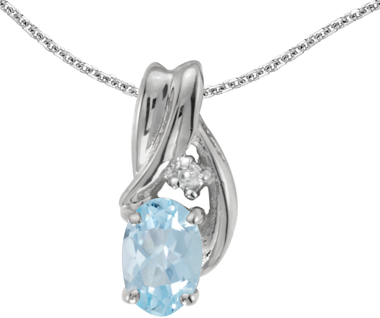 14k White Gold Oval Aquamarine And Diamond Pendant (Chain NOT included) (CM-P1861XW-03)
