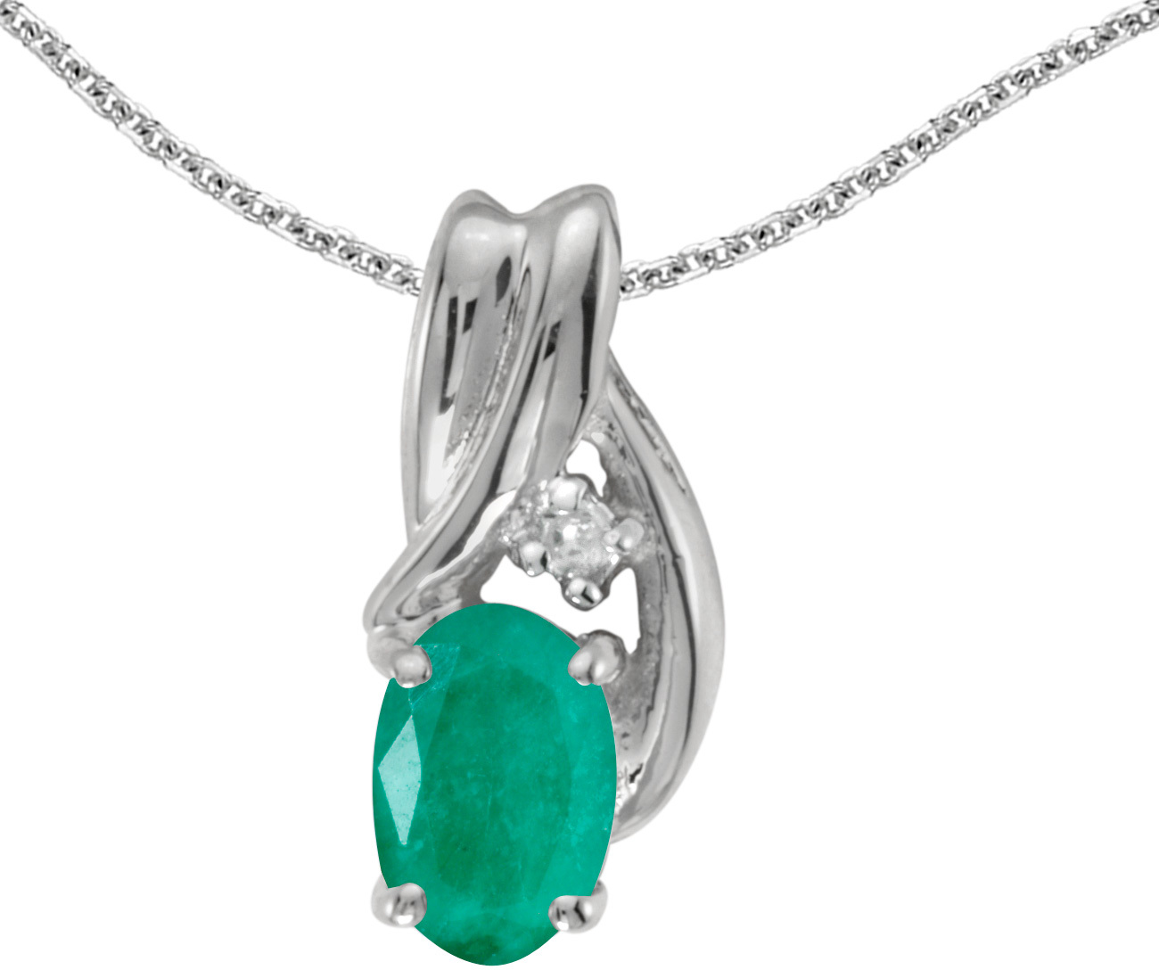 14k White Gold Oval Emerald And Diamond Pendant (Chain NOT included) (CM-P1861XW-05)