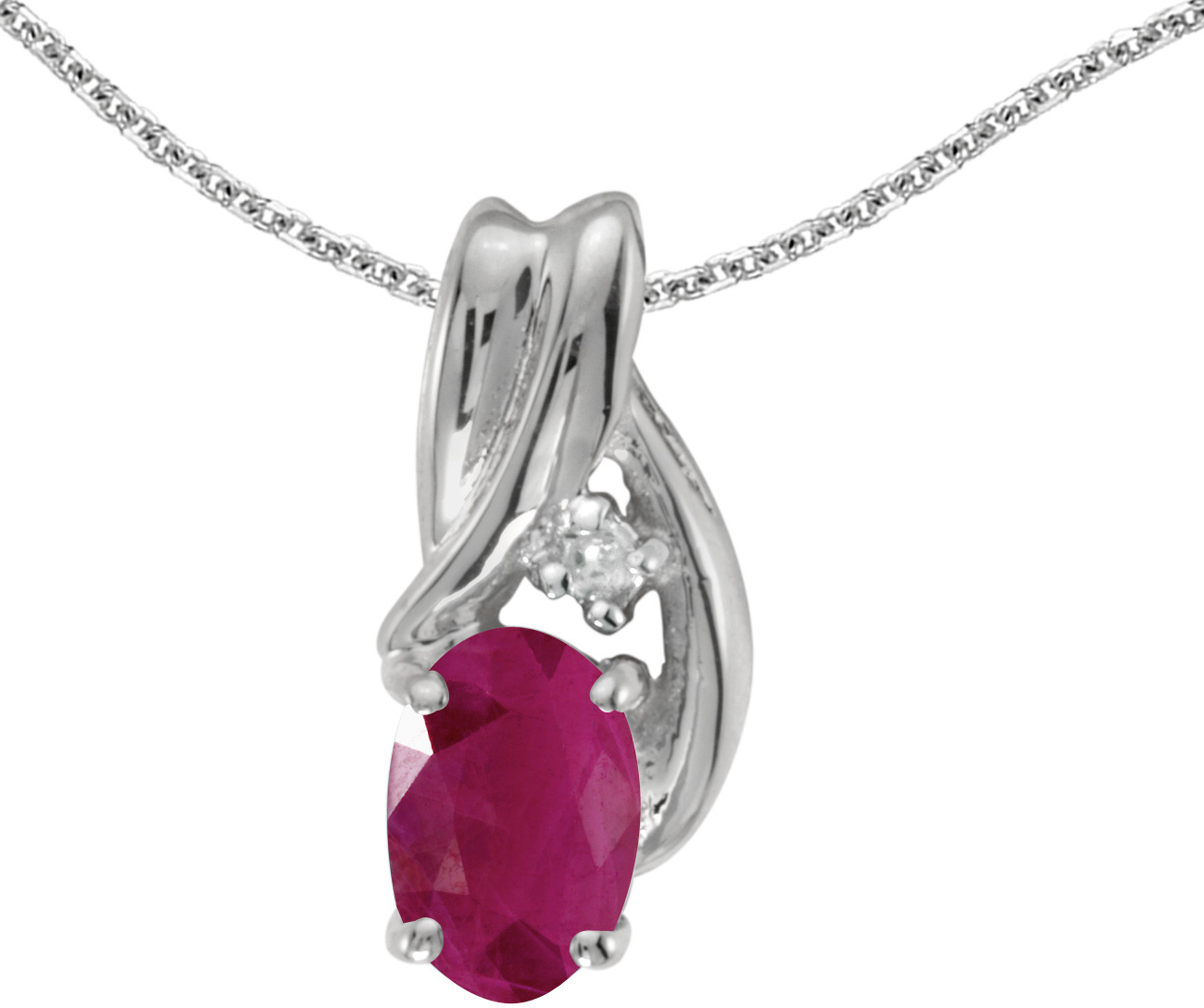 14k White Gold Oval Ruby And Diamond Pendant (Chain NOT included) (CM-P1861XW-07)