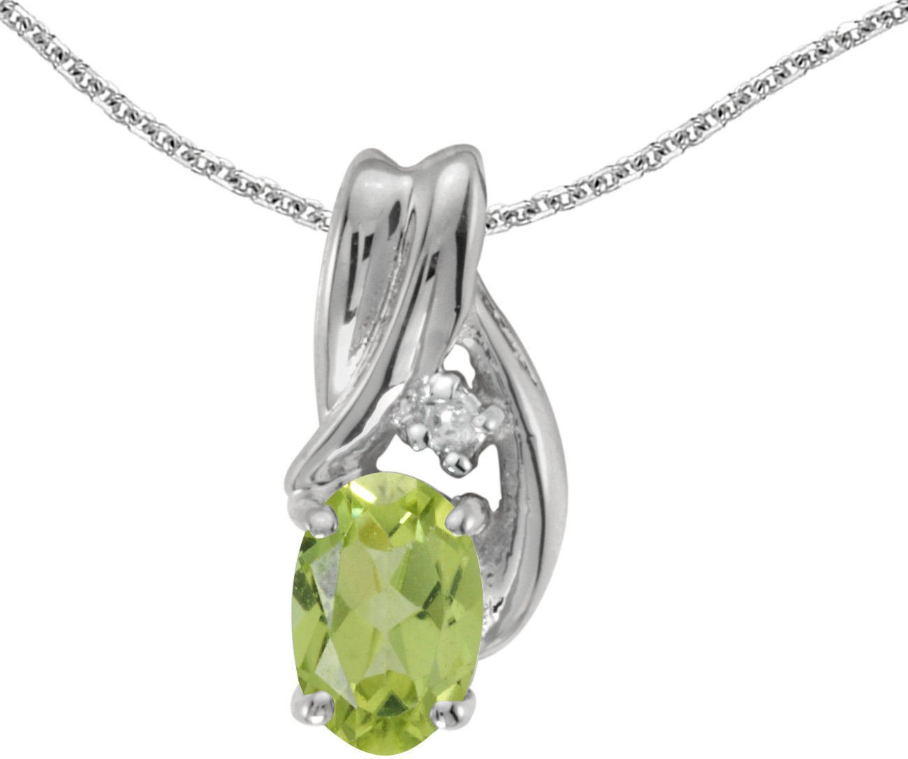 14k White Gold Oval Peridot And Diamond Pendant (Chain NOT included) (CM-P1861XW-08)
