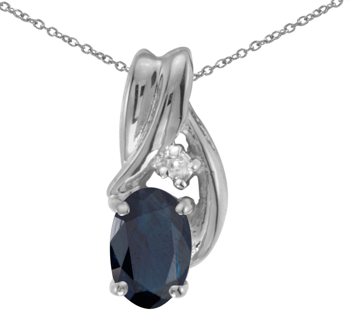 14k White Gold Oval Sapphire And Diamond Pendant (Chain NOT included) (CM-P1861XW-09)