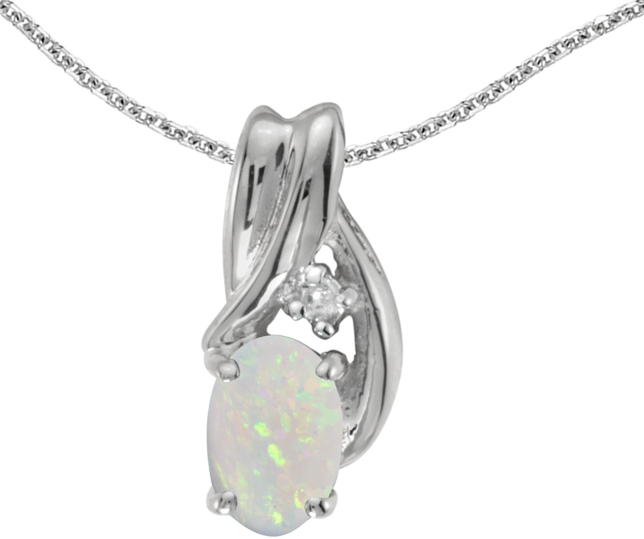 14k White Gold Oval Opal And Diamond Pendant (Chain NOT included) (CM-P1861XW-10)
