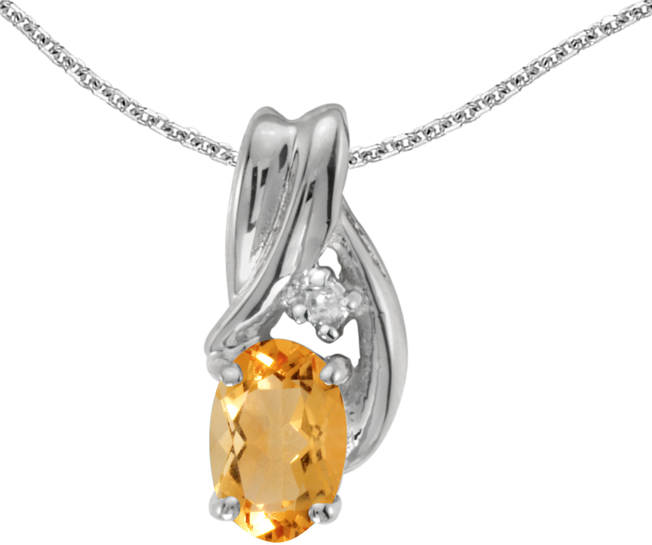14k White Gold Oval Citrine And Diamond Pendant (Chain NOT included) (CM-P1861XW-11)