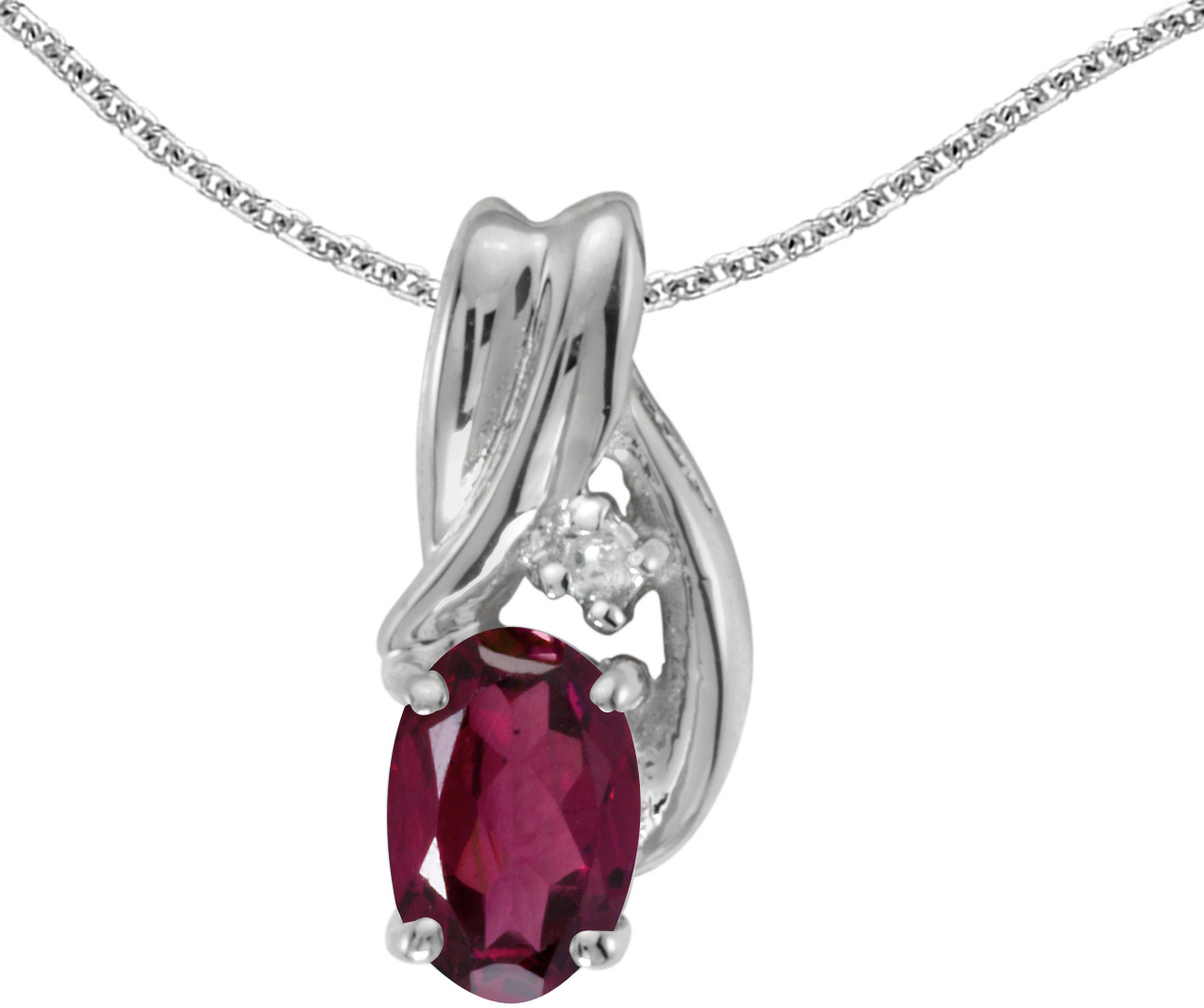 14k White Gold Oval Rhodolite Garnet And Diamond Pendant (Chain NOT included) (CM-P1861XW-RG)