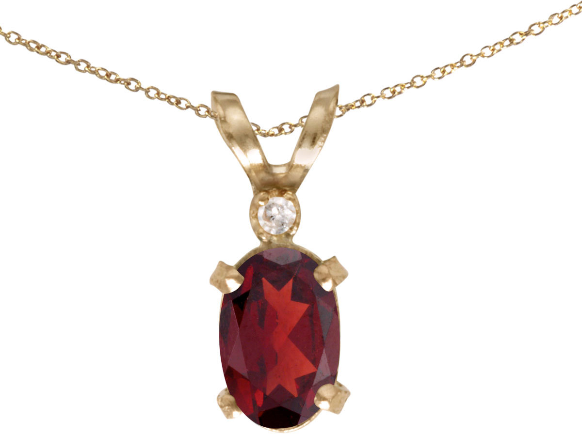 14k Yellow Gold Oval Garnet And Diamond Filigree Pendant (Chain NOT included)