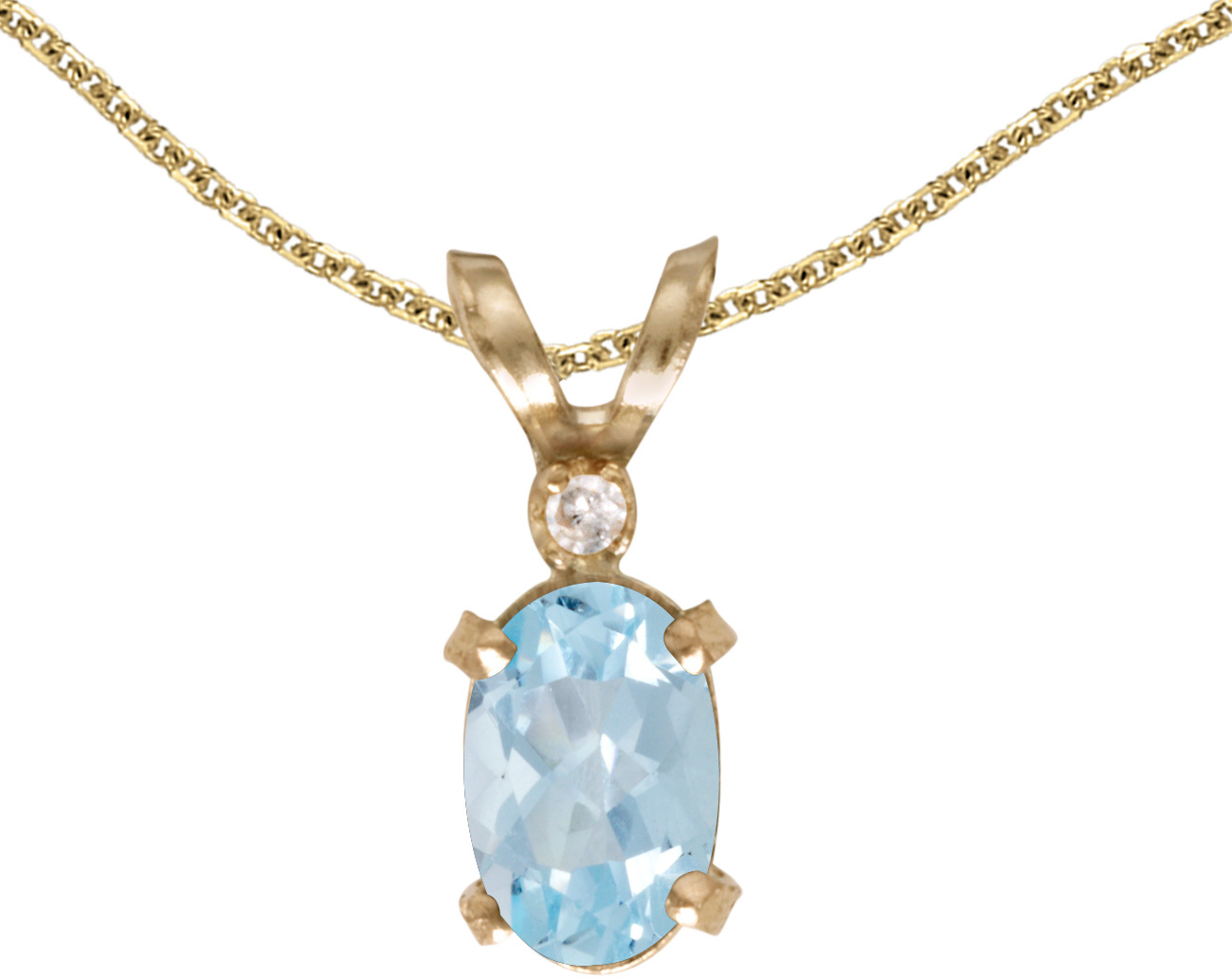 14k Yellow Gold Oval Aquamarine And Diamond Filigree Pendant (Chain NOT included)