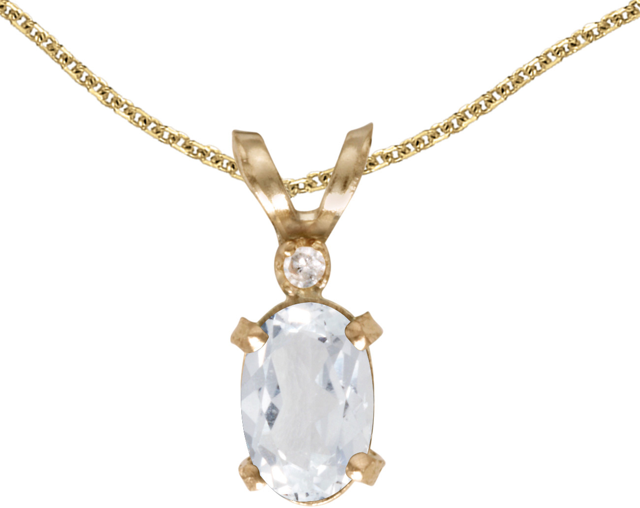 14k Yellow Gold Oval White Topaz And Diamond Filigree Pendant (Chain NOT included)