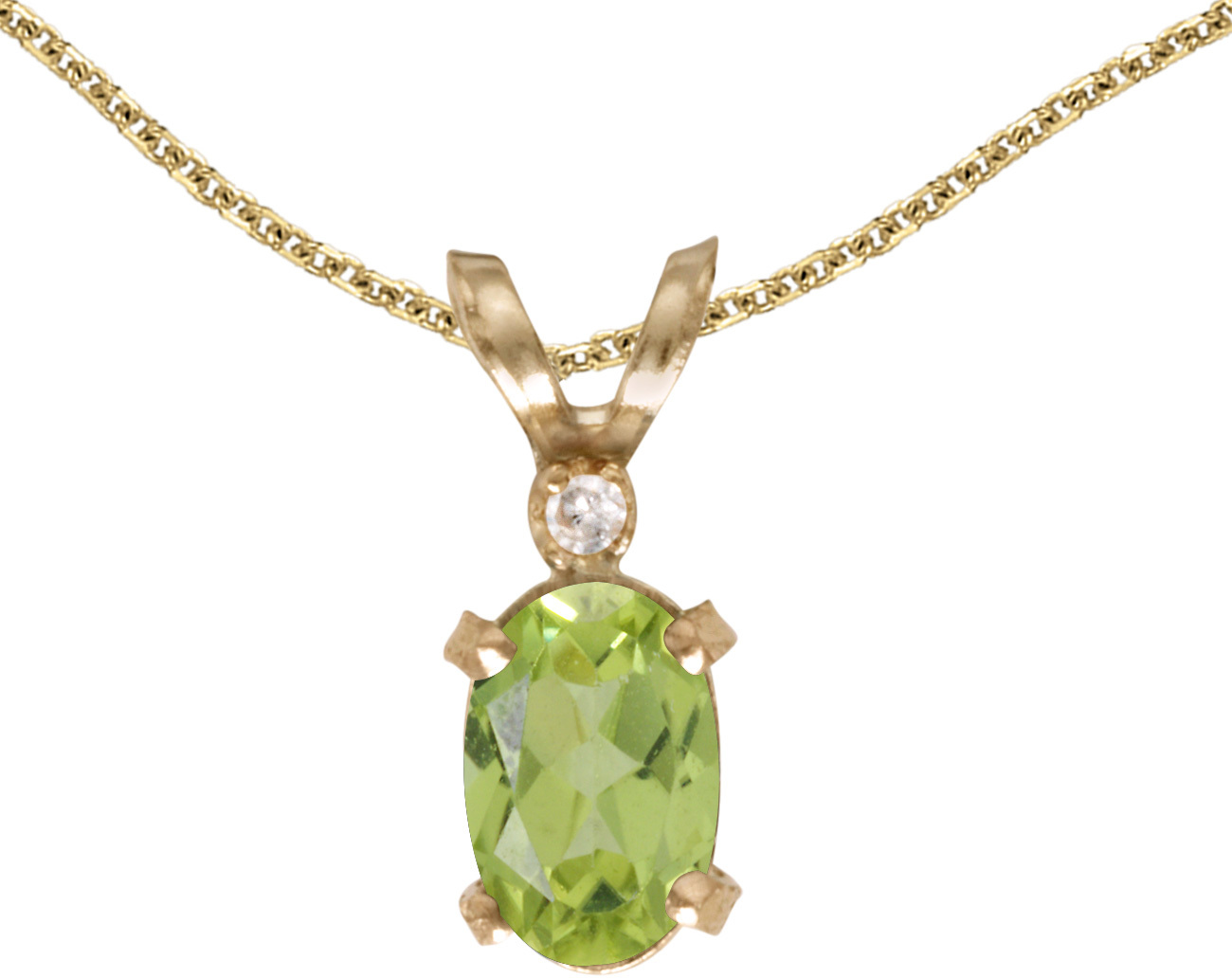 14k Yellow Gold Oval Peridot And Diamond Filigree Pendant (Chain NOT included)
