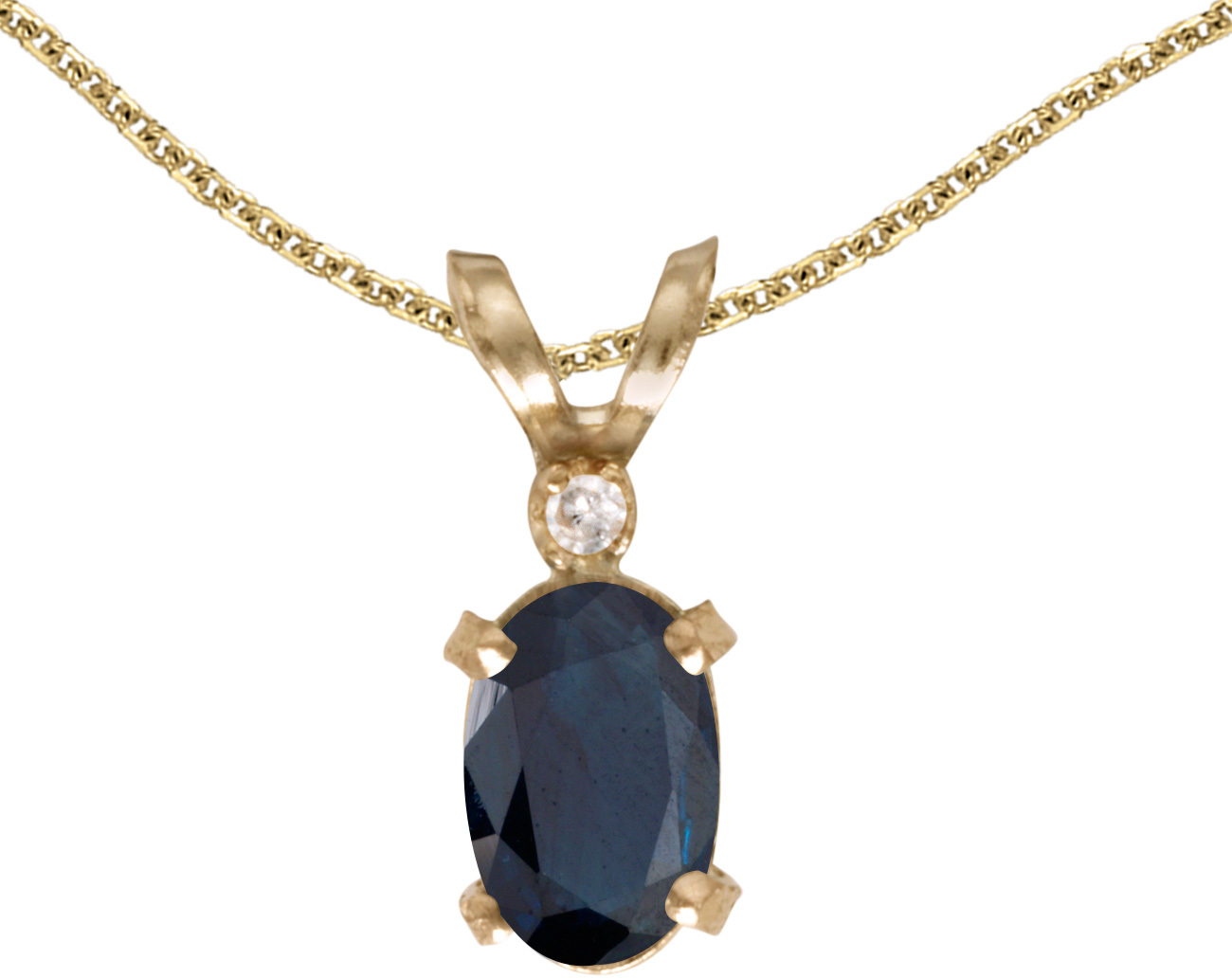 14k Yellow Gold Oval Sapphire And Diamond Filigree Pendant (Chain NOT included)
