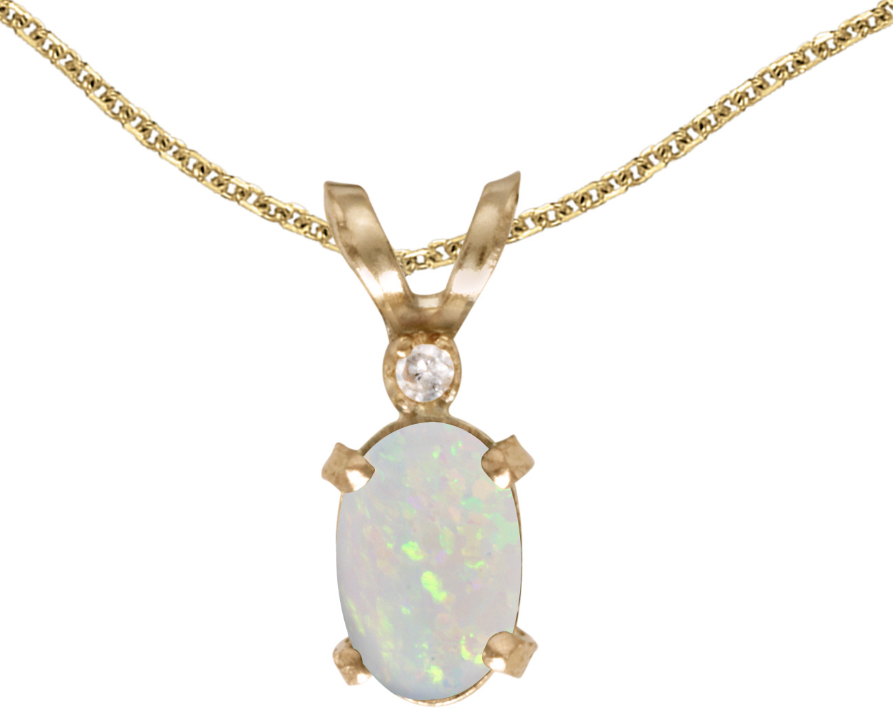 14k Yellow Gold Oval Opal And Diamond Filigree Pendant (Chain NOT included)