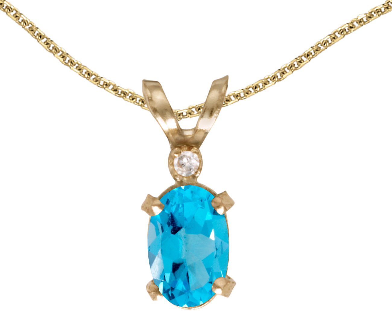 14k Yellow Gold Oval Blue Topaz And Diamond Filigree Pendant (Chain NOT included)