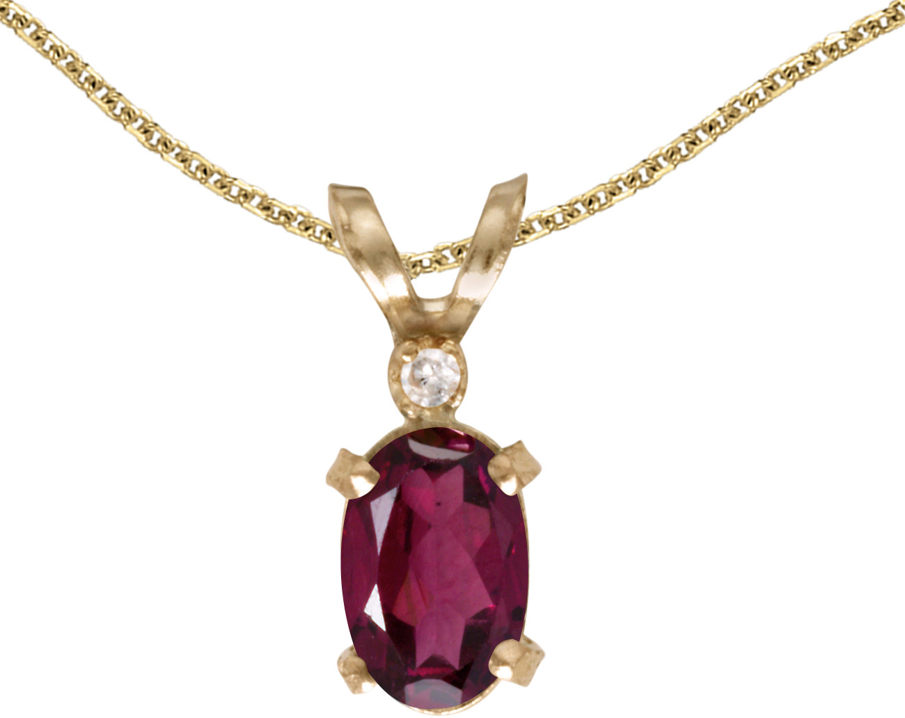 14k Yellow Gold Oval Rhodolite Garnet And Diamond Filigree Pendant (Chain NOT included)
