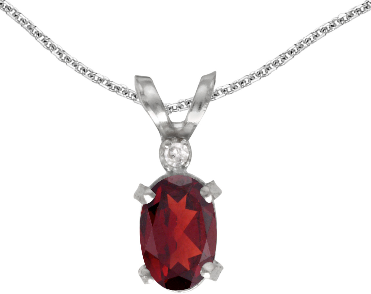 14k White Gold Oval Garnet And Diamond Filigree Pendant (Chain NOT included)