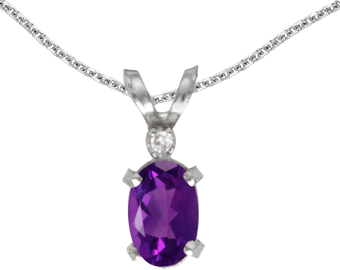 14k White Gold Oval Amethyst And Diamond Filigree Pendant (Chain NOT included)