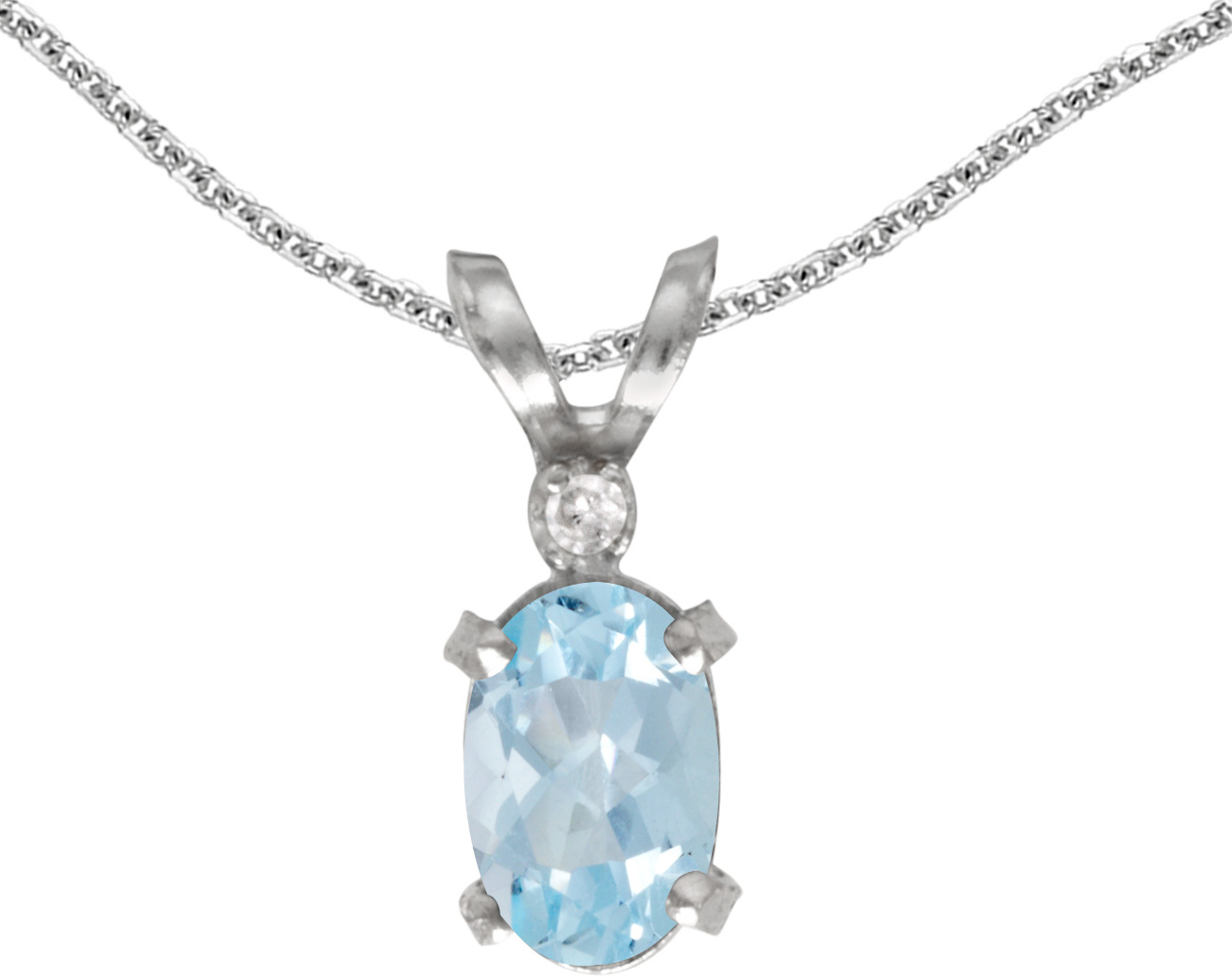 14k White Gold Oval Aquamarine And Diamond Filigree Pendant (Chain NOT included)