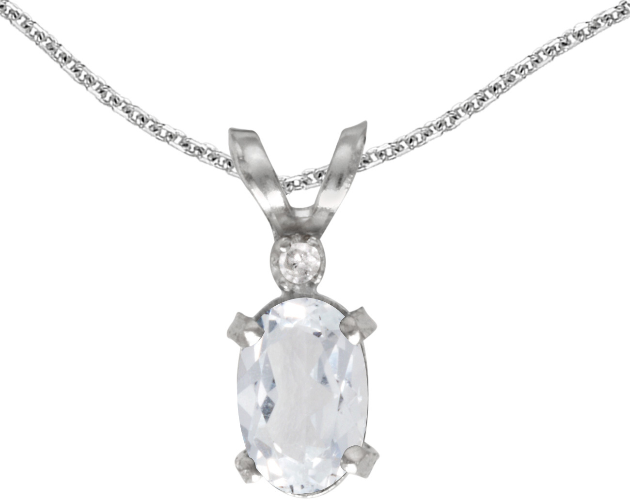 14k White Gold Oval White Topaz And Diamond Filigree Pendant (Chain NOT included)
